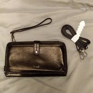 NWOT The Sak black leather wristlet for smartphone